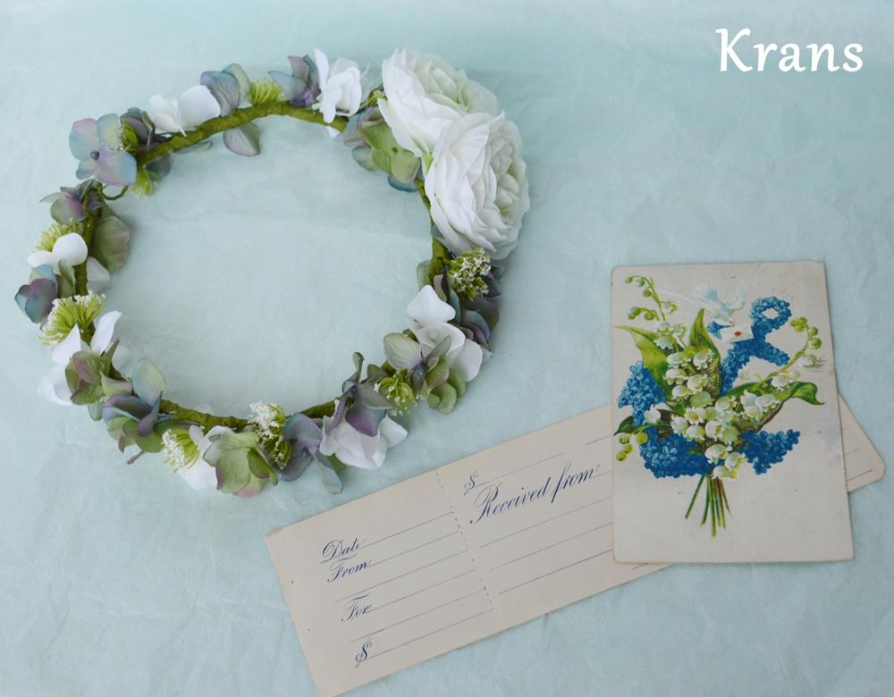 ホワイトとグリーンのワンポイント結婚式花冠5