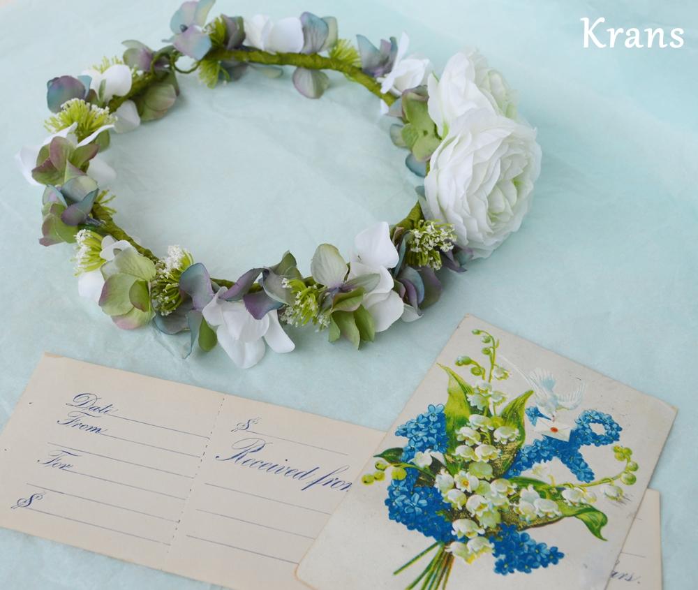 ホワイトとグリーンのワンポイント結婚式花冠4