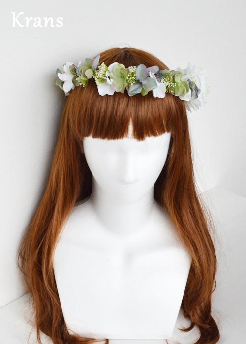 ホワイトとグリーンのワンポイント結婚式花冠6