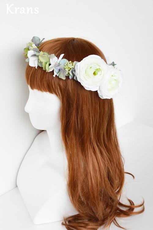 ホワイトとグリーンのワンポイント結婚式花冠8