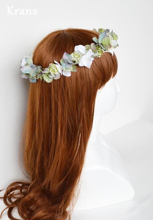 ホワイトとグリーンのワンポイント結婚式花冠7