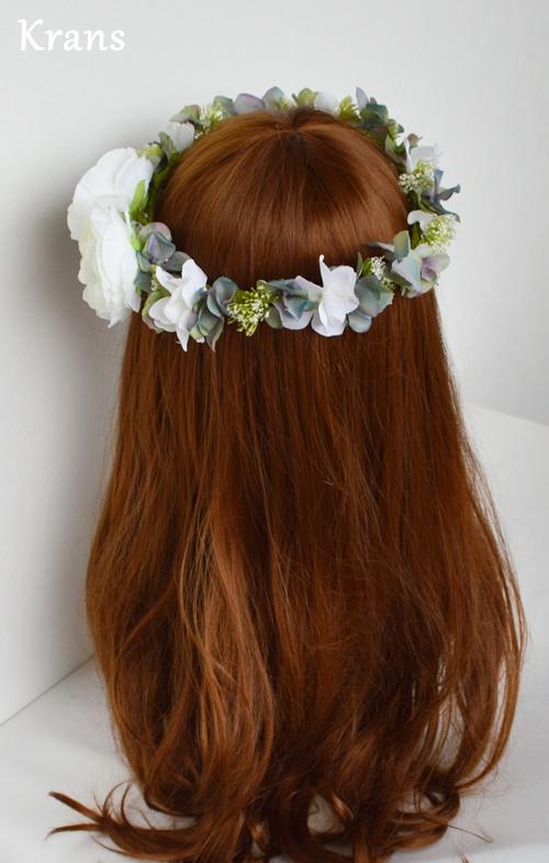 ホワイトとグリーンのワンポイント結婚式花冠16