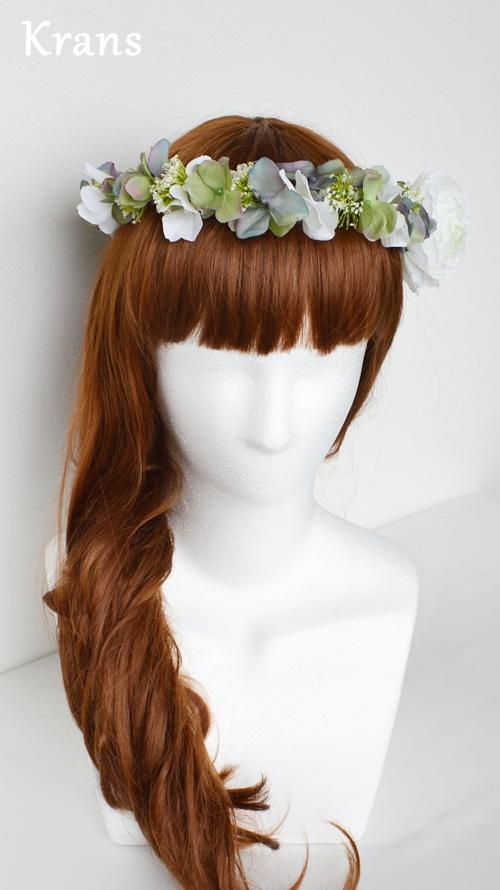 ホワイトとグリーンのワンポイント結婚式花冠13