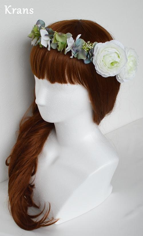 ホワイトとグリーンのワンポイント結婚式花冠15