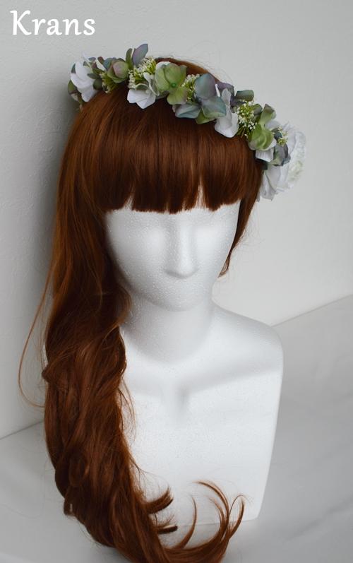 ホワイトとグリーンのワンポイント結婚式花冠14