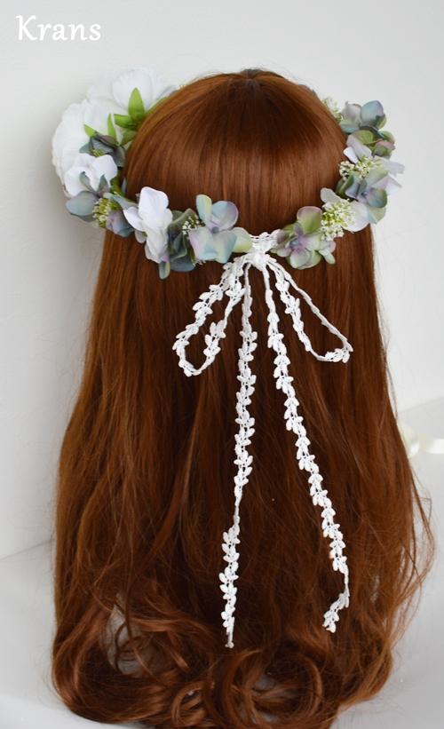 ホワイトとグリーンのワンポイント結婚式花冠18