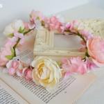 ガーリーピンクのウェディング花冠ラナンキュラス、結婚式花冠、ウェディング花冠、