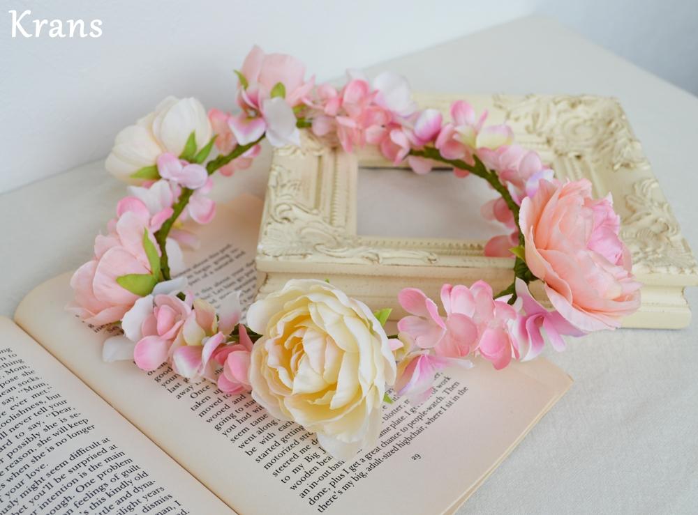 ベビーピンクの結婚式花冠13