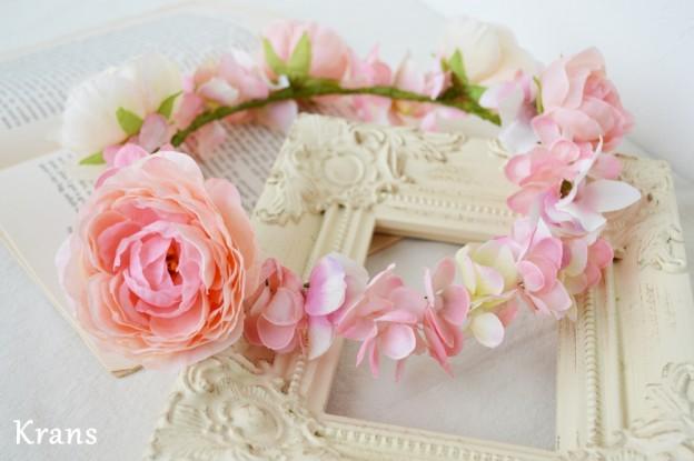 ベビーピンクの結婚式花冠1