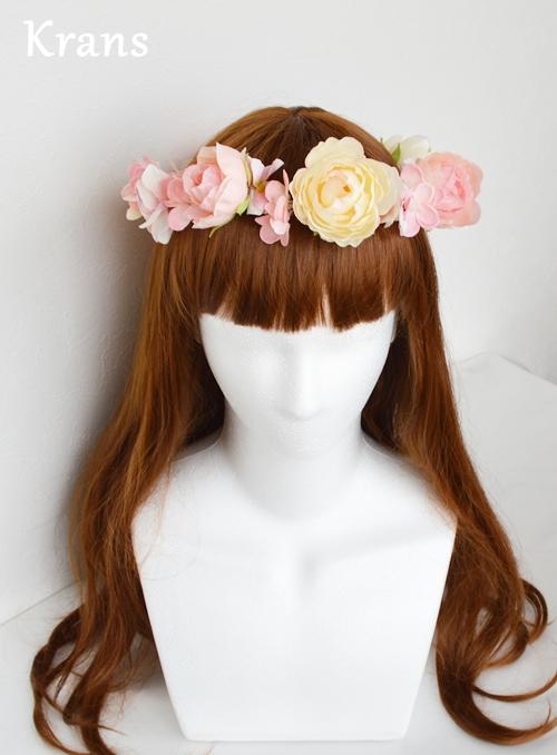 ベビーガーリーピンクの結婚式花冠2