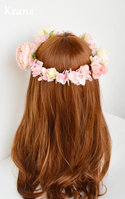 ベビーピンクの結婚式花冠8