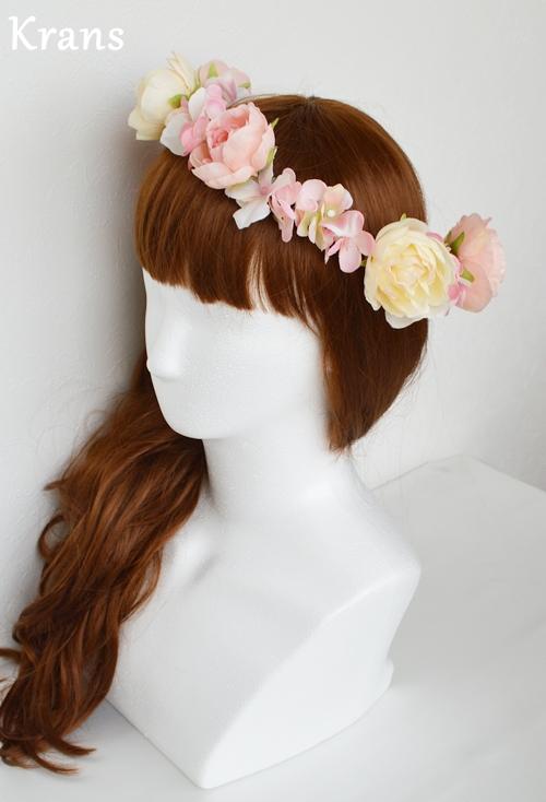 ベビーピンクの結婚式花冠7