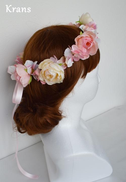 ベビーピンクの結婚式花冠4