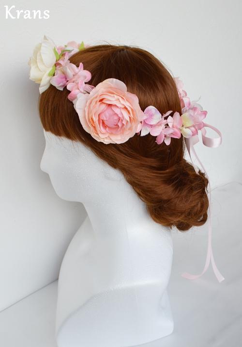 ベビーピンクの結婚式花冠5