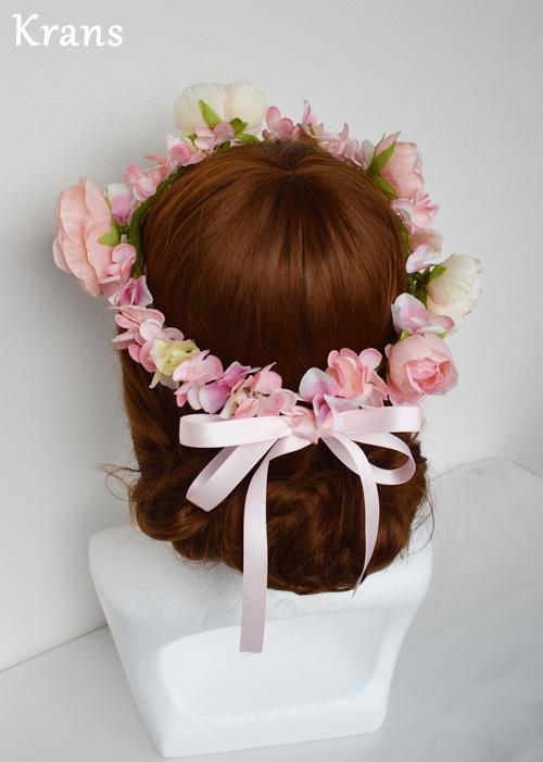 ベビーガーリーピンクの結婚式花冠3
