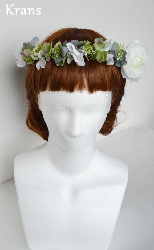 ホワイトとグリーンのワンポイント結婚式花冠9