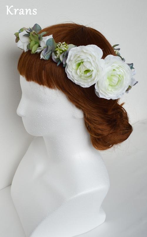 ホワイトとグリーンのワンポイント結婚式花冠11