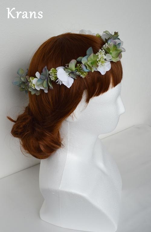 ホワイトとグリーンのワンポイント結婚式花冠10
