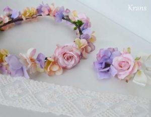 シュガーピンクローズのブライダル花かんむりブートニア