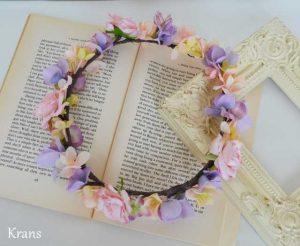 シュガーピンクローズのブライダル花かんむり ホワイトバック