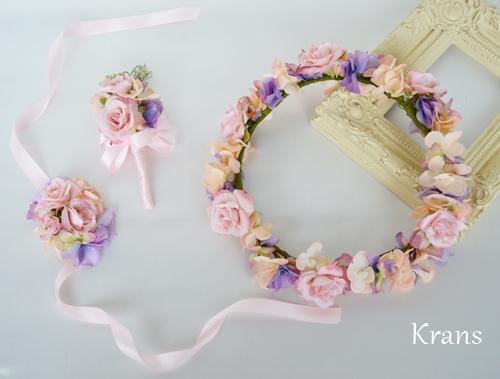 シュガーローズピンクの花冠、結婚式花冠、ウェディング花冠、