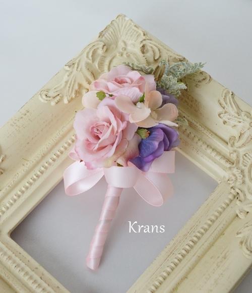 シュガーローズピンク花かんむりブートニア