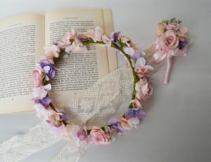 シュガーピンクのウェディング花冠セット