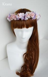 シュガーピンクのウェディング花冠サイド