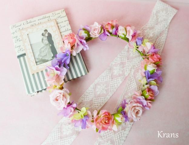 彩り華やかな花かんむり、結婚式花冠、ウェディング花冠、