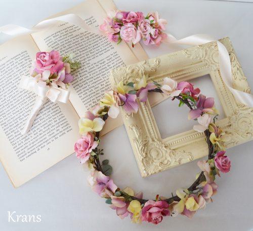 【オーダー花冠】アンティークカラーの花冠・ブートニア・リストレット
