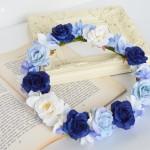 クラシックブルーの結婚式花冠2