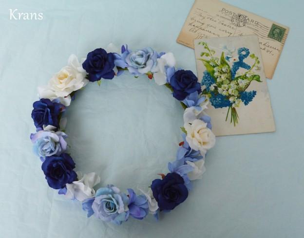 クラシックブルーの花冠、結婚式花冠、ウェディング花冠、