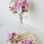 ピンクウェディング、結婚式花冠、ウェディング花冠、