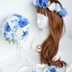 青い結婚式、結婚式花冠、ウェディング花冠、