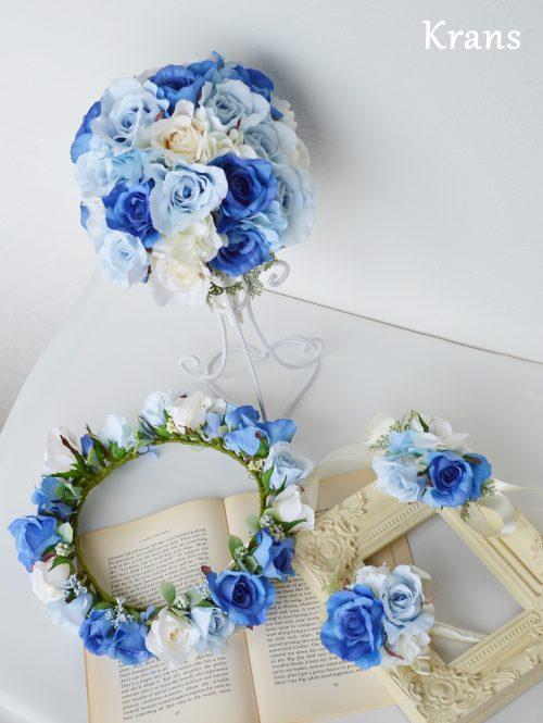 【オーダー】美しいブルーローズの花冠・ブーケ・ブートニア・リストレット