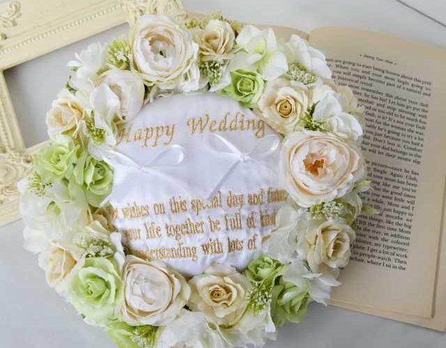 【オーダーリングピロー】ナチュラルリースのリングピロー(結婚祝いのプレゼント)