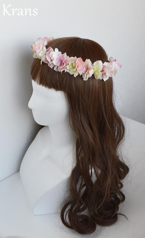ふんわりピンクの可愛いシルエット花冠左