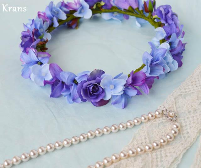 ブルーパープルの結婚式花冠2