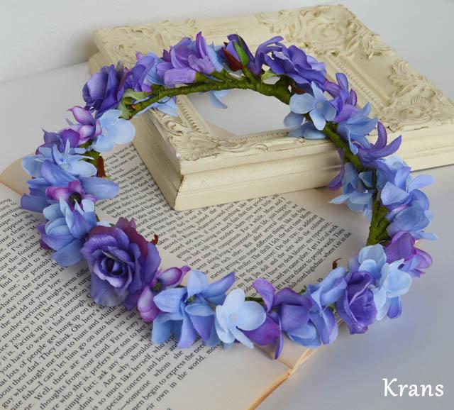 ブルーパープルの結婚式花冠10