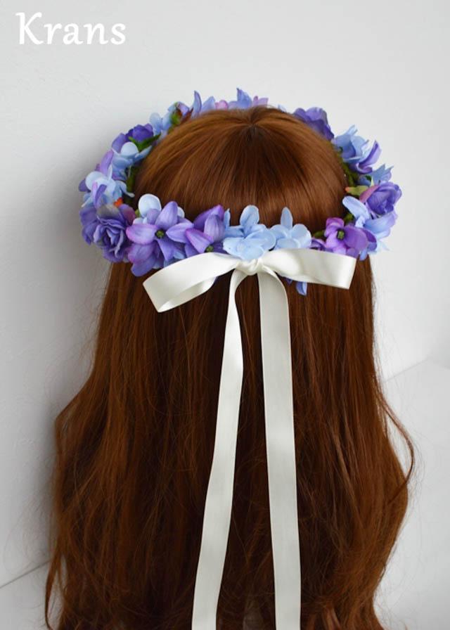 ブルーパープルの結婚式花冠8
