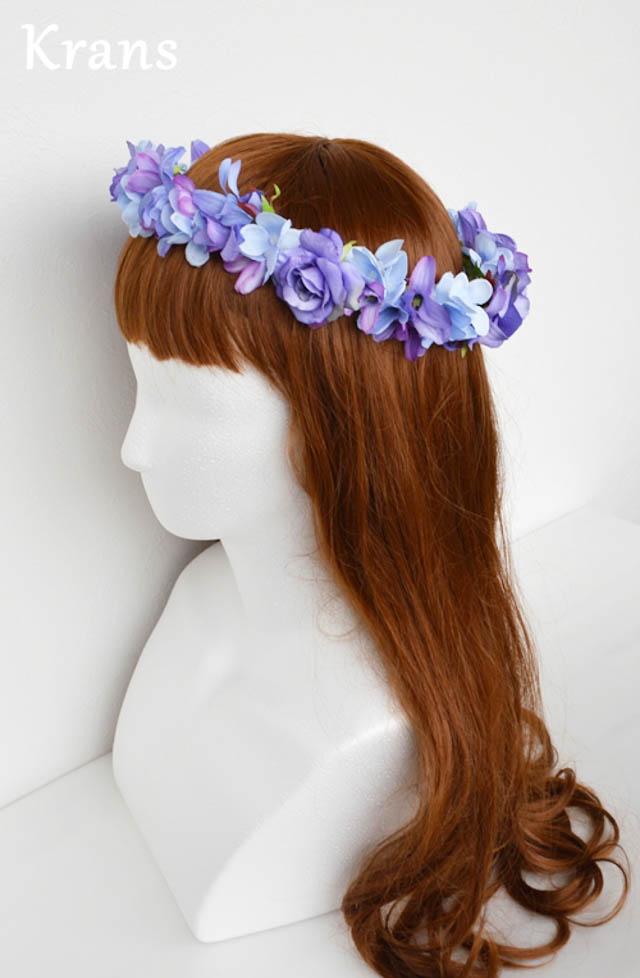 ブルーパープルの結婚式花冠6