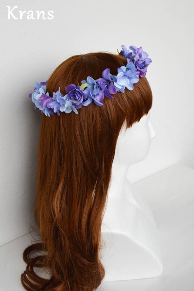 ブルーパープルの結婚式花冠5