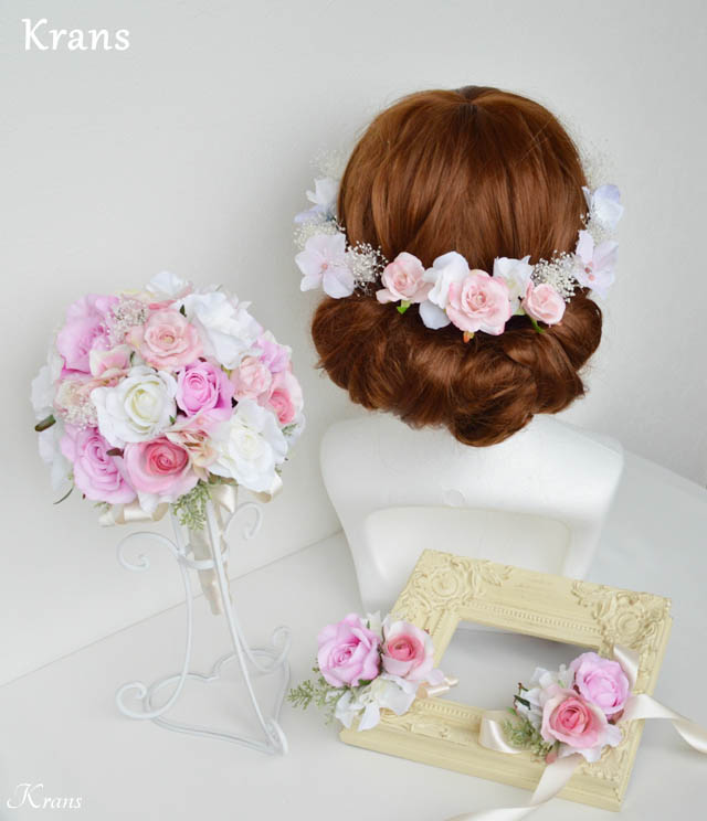 ピンクローズ結婚式ブーケヘアアレンジ