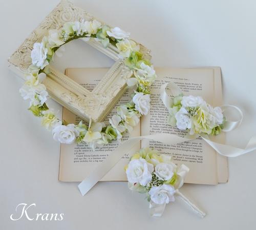 ホワイト白い結婚式花冠4