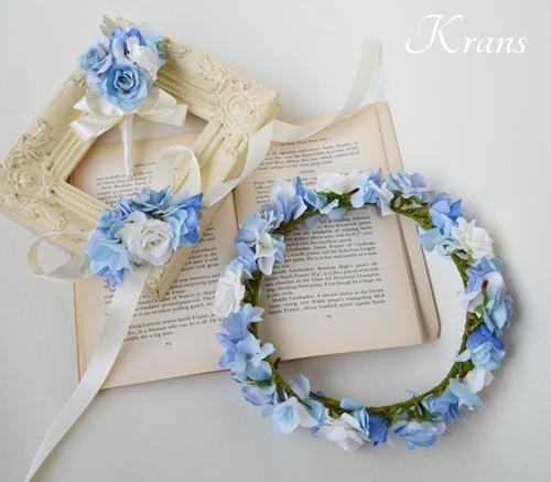 青い結婚式花冠4