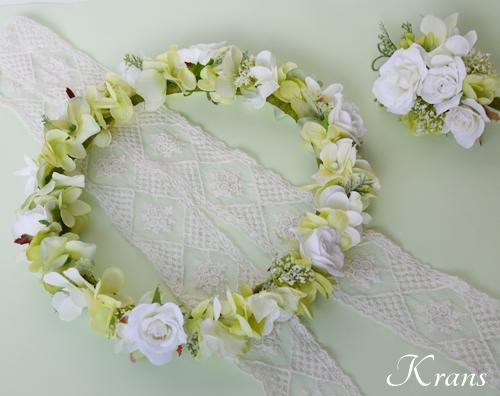グリーンとホワイトのナチュラル結婚式花冠7