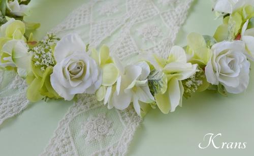 グリーンとホワイトのナチュラル結婚式花冠8