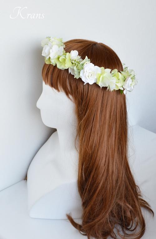 グリーンとホワイトのナチュラル結婚式花冠4