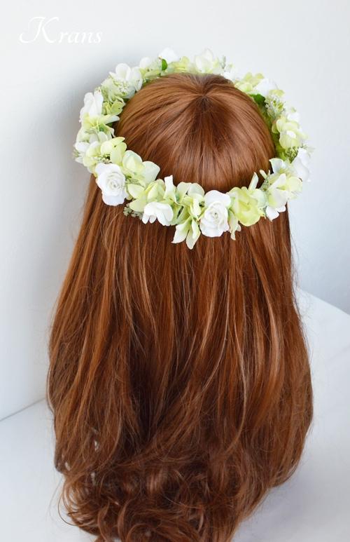 グリーンとホワイトのナチュラル結婚式花冠5