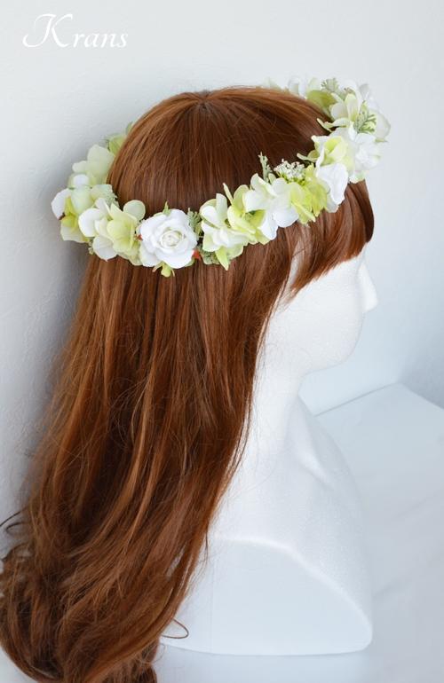 グリーンとホワイトのナチュラル結婚式花冠3